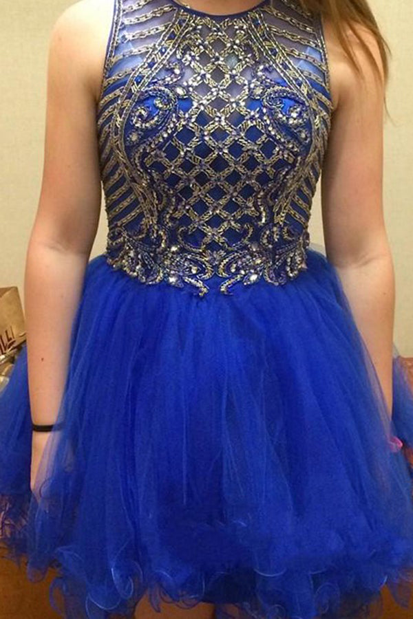 Royal Blue A-Line Sleeveless Scoop Beading Tulle Mini Skirt,Homecoming Dresses