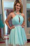 Green A-Line Sleeveless Halter Knee-Length Beading Chiffon Homecoming Dresses