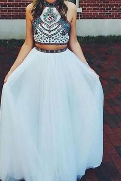 White Two Piece Tulle A-Line Halter Sleeveless Floor-Length Beading Long Prom Dresses P562