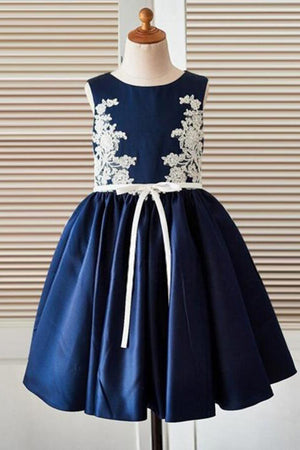 Blue Appliques A-Line Scoop Neck Sleeveless Flower Girl Dresses,Baby Dress F39 - Ombreprom