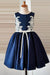 Blue Appliques A-Line Scoop Neck Sleeveless Flower Girl Dresses,Baby Dress F39