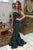 Elegant Green Strapless Sheath Sweep Train Mermaid Prom Dresses P945
