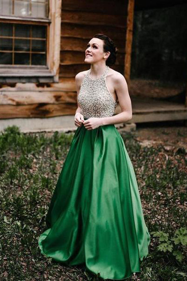 Simple Halter With Beaded Sleeveless Green A Line Floor Length Prom Dress P819