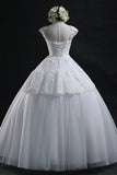 Scoop Long Lace-up Tulle Wedding Dress Ball Gown With Appliques
