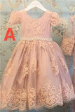 Cute Pink Lace Short Sleeves Beading Flower Girl Dresses,Baby Dresses F41 - Ombreprom