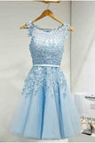 Short Tulle Prom Dress With Lace Appliques,Short/Mini Homecoming Dress,Prom Party Dress