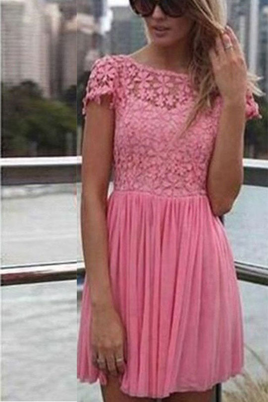 Peach Pink Short Sleeves Lace Scoop Open Back Flowers Homecoming Dresses M307