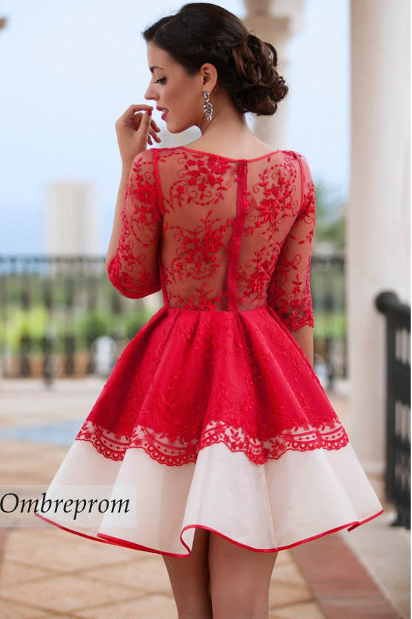 Charming A Line Sheer Back Homecoming Dress,Long Sleeve Appliques Short Prom Dress, HCD93 - Ombreprom