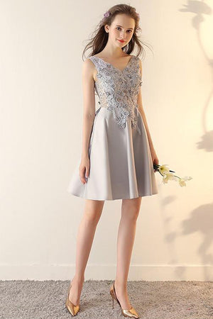 A-Line V-Neck Homecoming Dress With Flower Short Custom Made Cocktail Dress - Ombreprom