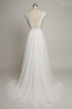 Cap Sleeves Sweetheart Long Chiffon Wedding Dress with Lace,Long Elegant Backless Wedding Gowns W26 - Ombreprom