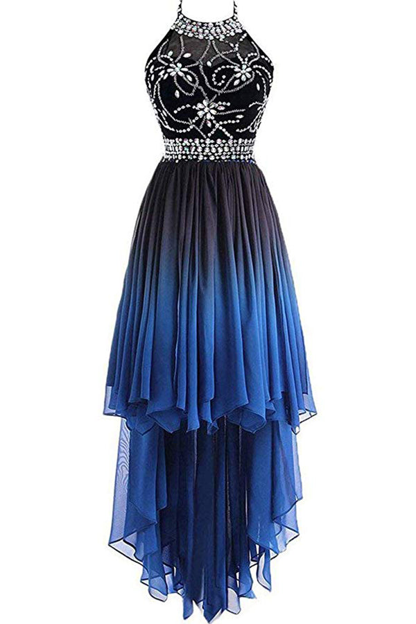 Unique High Low Sleeveless Halter Ombre Prom Dress Bridesmaid Dress with Beading P866