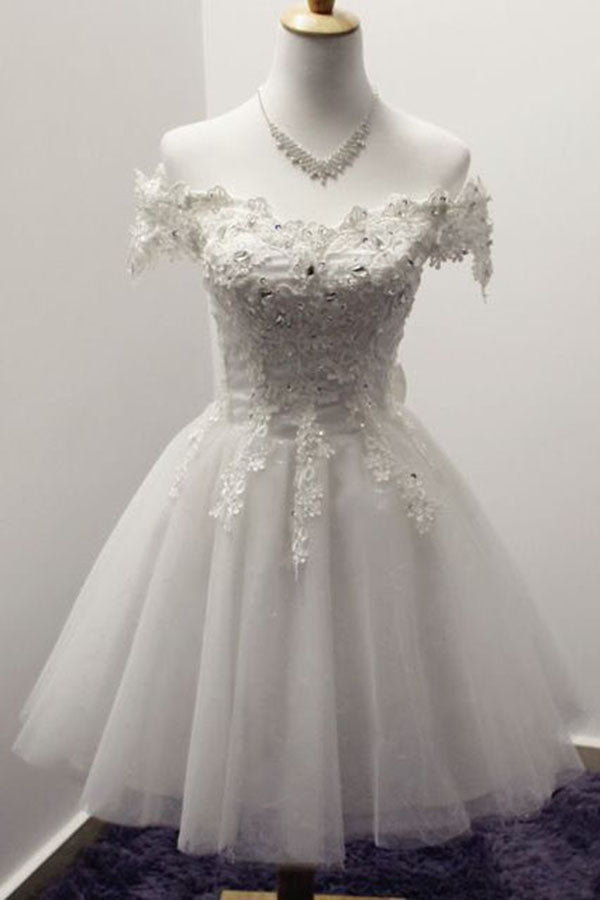 Elegant White Off-shoulder Tulle lace up Bowknot Appliques Homecoming Dresses M306