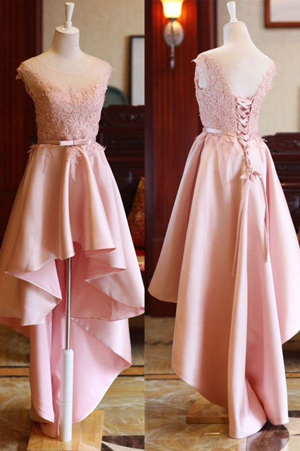 Cheap Pink High Low Scoop Lace Up Mid Back Satin Sleeveless Prom Dresses M306