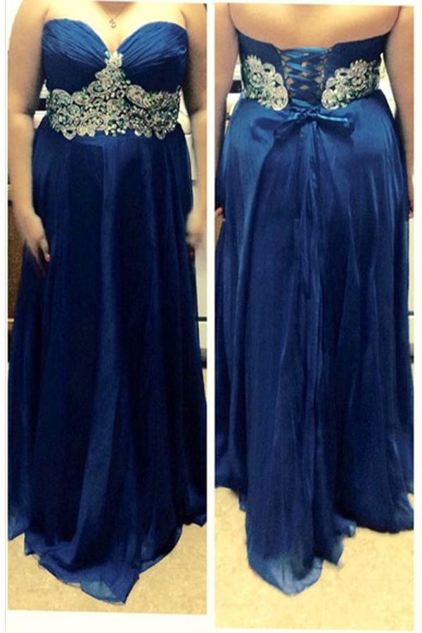 Blue A-Line Sweetheart Sleeveless Lace Up Beading Floor-Length Chiffon Plus Size Dresses S25 - Ombreprom