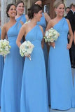 Cheap Blue Sheath One-Shoulder Sleeveless Chiffon Floor-Length Bridesmaid Dresses B353 - Ombreprom