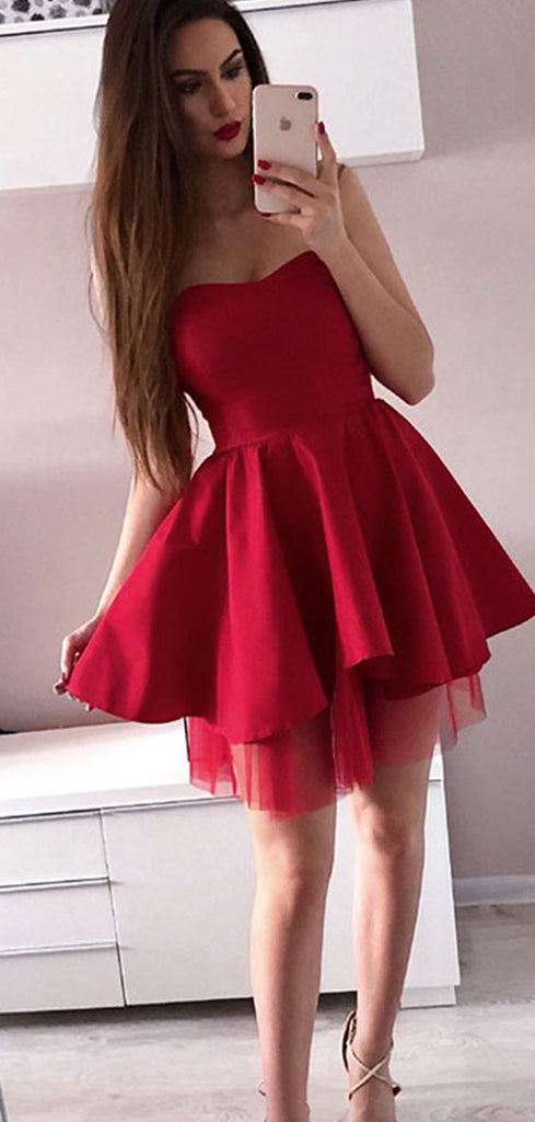 Simple Red Sweetheart A Line Satin Homecoming Dress M591