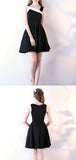 Simple Black Knee Length Satin A Line Homecoming Dress M527