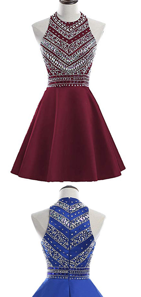 Chic Satin Sleeveless Knee Length With Beaded Homecoming Dress M510