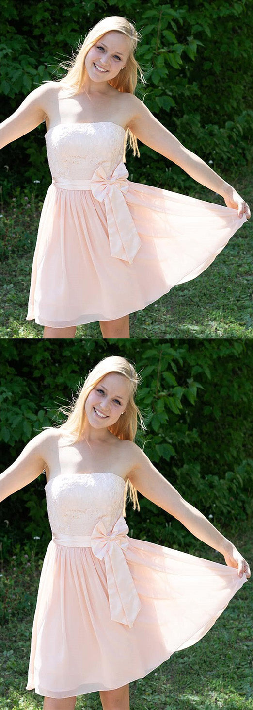 Cute Strapless With Bowknot Sleeveless A Line Homecoming Dress M523
