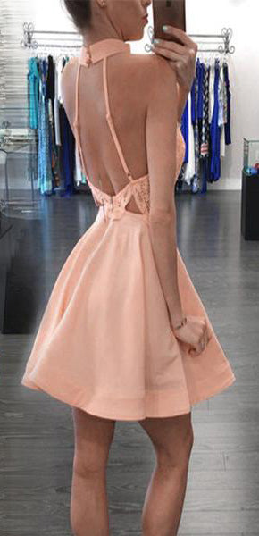 Blush pink A-Line High neck open backs Sleeveless Knee-Length Homecoming Dresses M303 - Ombreprom