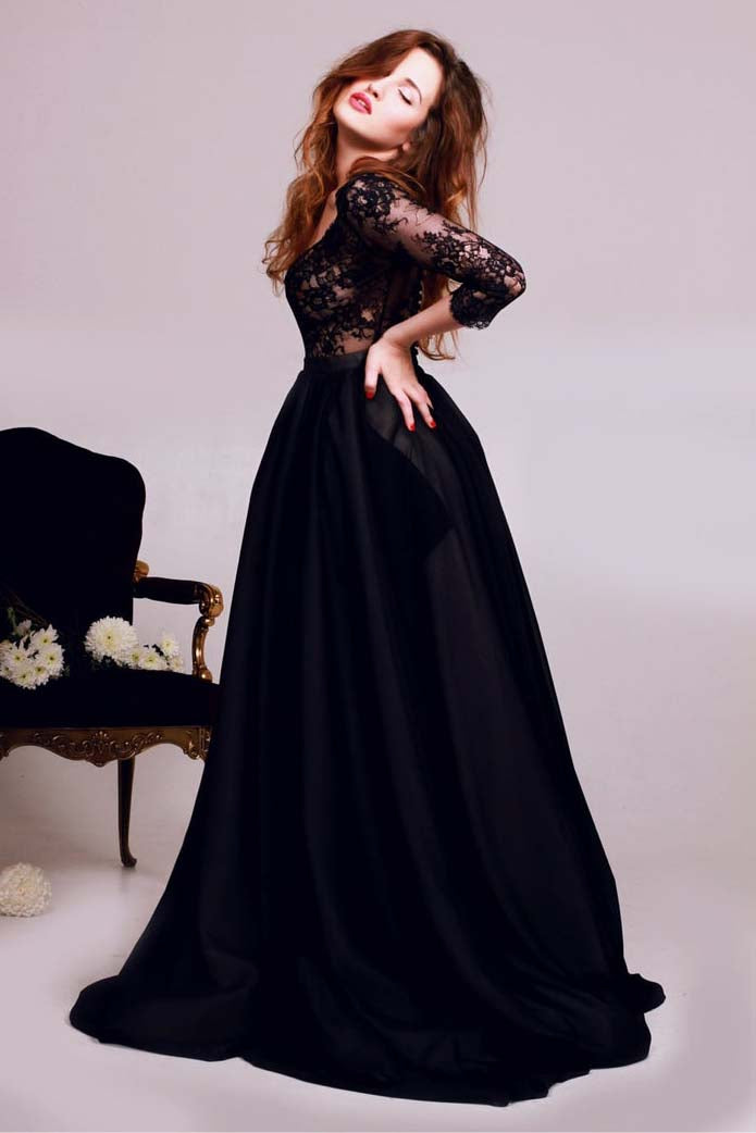3/4 Sleeve Lace Deep V-neck Satin Prom Dress, Black Evening Dress D457