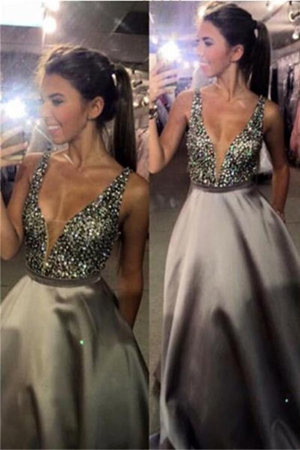 Cheap V-Neck A-Line Satin Floor-Length Sleeveless Long Prom Dresses with Rhinestone P560 - Ombreprom