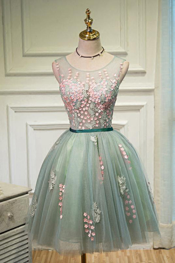Sexy Green A-line Scoop Tulle Ball Gown Lace-up Sleeveless Appliques Homecoming Dresses M313