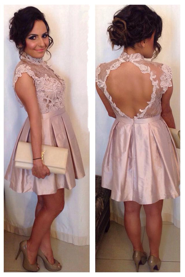 Pink A-Line Keyhole Back Sleeveless High Neck Satin Homecoming Dresses with Lace