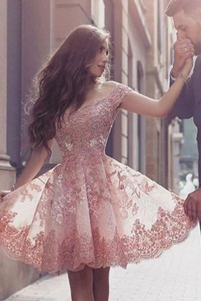 Dramatic Off Shoulder Short Sleeves Mini Blush Lace Homecoming Dress with Appliques Sweet 16 Cocktail Dress