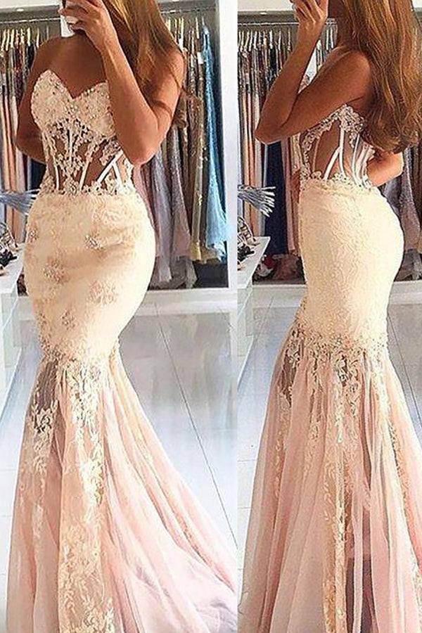 Tulle Mermaid Sleeveless Sweetheart Sweep Train Formal Dress,Long Prom Dresses P566