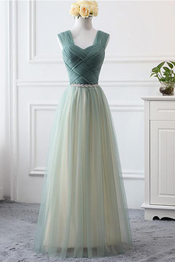 Simple Sweetheart A Line Open Back Tulle Floor Length Prom Dress P788