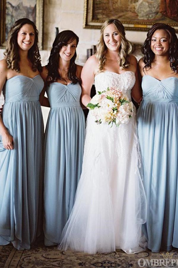 Light Blue Strapless Chiffon Sweetheart Bridesmaid Dress B490