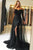 Black Tulle A-Line Off-the-Shoulder  Long Sleeves Prom Dress with Lace Sequins P527 - Ombreprom