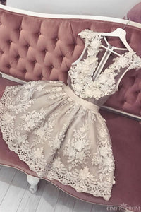 Cute V Neck Tulle Lace Short Prom Dresses Appliques Homecoming Dress M721