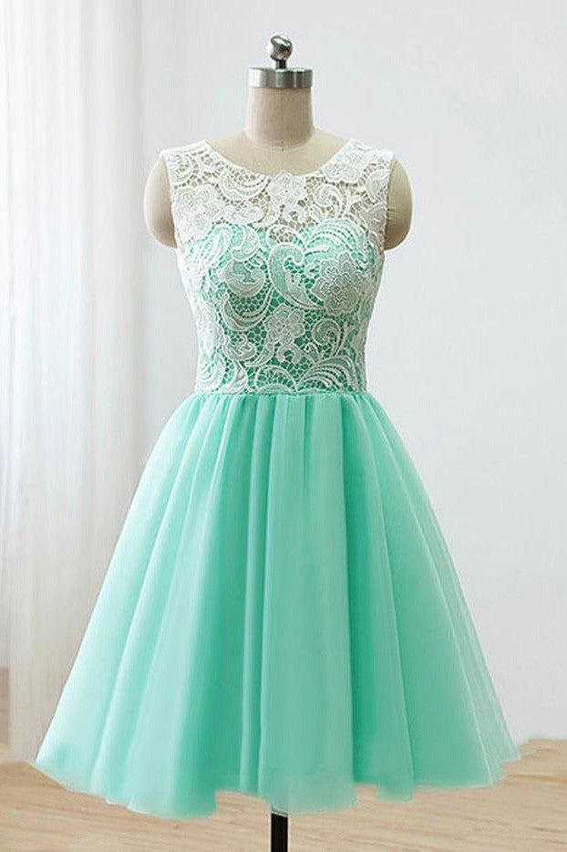 Modest Lace Top Mint Green Tulle Short Prom Homecoming Dresses M700