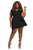 Short Sleeve Black Mermaid Above Knee Round Neck Short Prom Dresses FP2589