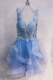A-line Blue Homecoming Graduation Dresses Lace Short Prom Dress M693