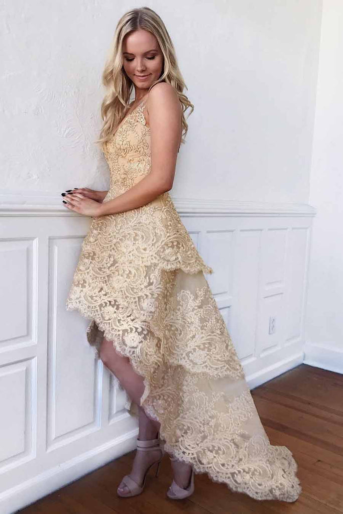 A-line V Neck Gold Lace Homecoming Dress High Low Short Prom Dresses M702
