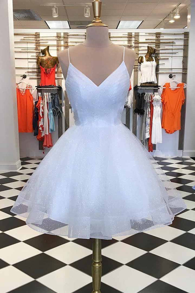 White Homecoming Dresses Spaghetti-straps V Neck Short Prom Dresses M694