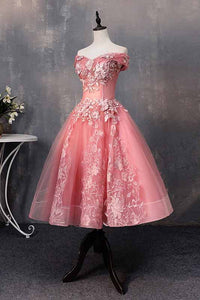 A-line Off-Shoulder Short Prom Dresses Appliques Sweet 16 Gown M703