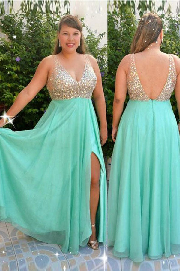 Simple V Neck Open Back Sleeveless Beading Floor Length Chiffon Prom Dress P777