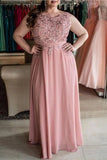 Cheap Round Neck Sleeveless Lace Appliques Chiffon Plus Size Prom Dress P781