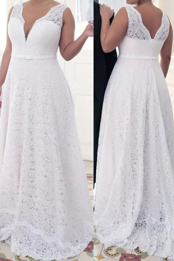 Elegant Lace Appliques V Neck Brush Train Sleeveless Plus Size Prom Dress P780