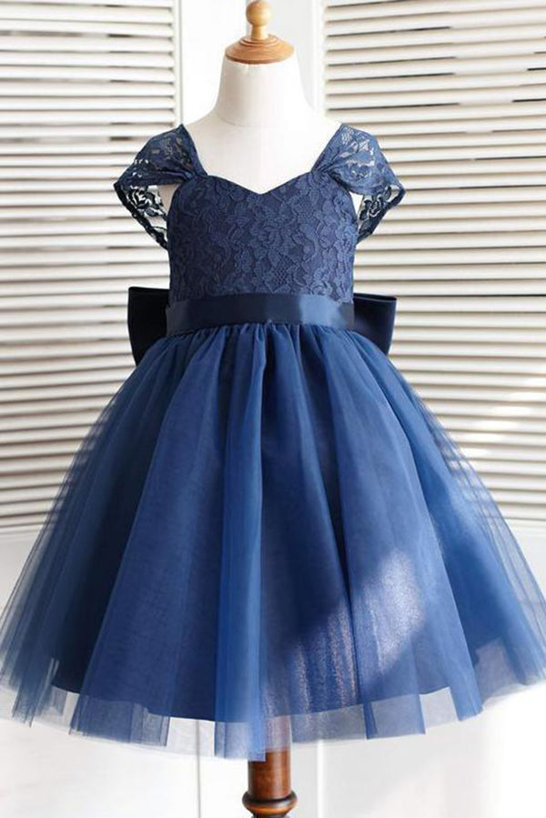 Navy Blue Cap Sleeves With Bowkont Lace Appliques Flower Girl Dresses F71