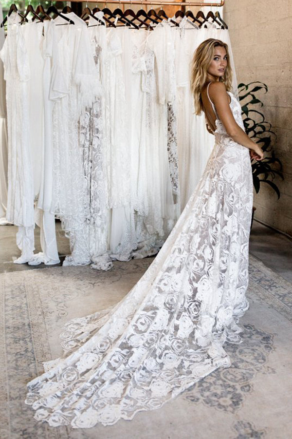 Hottest Elegant Spaghetti Straps Backless Long Simple Ivory Lace Beach Wedding Dresses Bridal Gowns W349