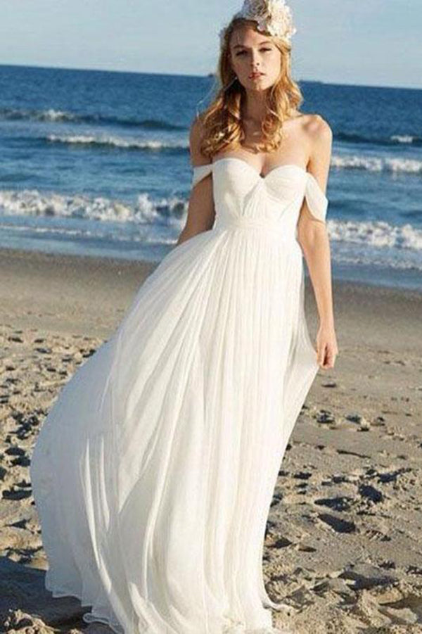 Afflordable Flowy Unique Ivory Chiffon Off The Shoulder Lace Up Beach Wedding Dresses W329