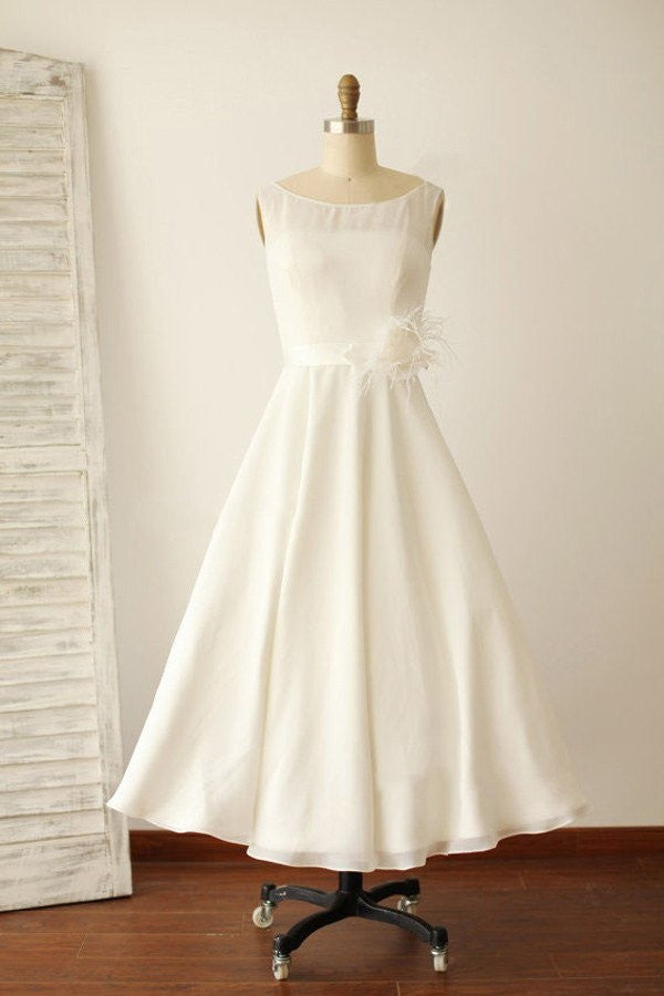 Ivory Illusion Boat Neck Tea Length Sleeveless Wedding Dresses,Beach Sleeveless Wedding Gowns