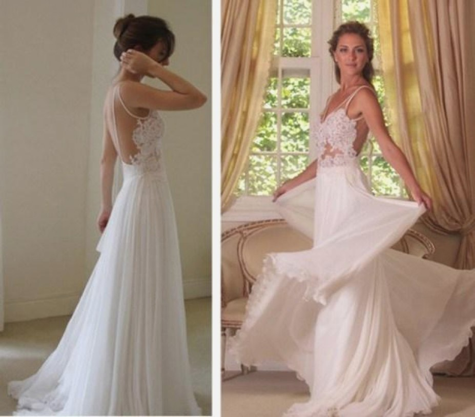 Sweetheart Spaghetti Appliques Cheap Wedding Gowns,Backless Beach Wedding Dress W93
