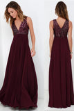 Burgundy A Line Floor Length Deep V Neck Sleeveless Bridesmaid Dress, Wedding Party Dress B309 - Ombreprom