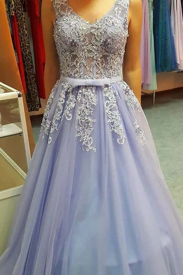 Delicate V Neck Open Back Floor Length With Lace Appliques Prom Dress P640